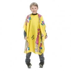 Детска пелерина за подстригване, жълта, с копчета